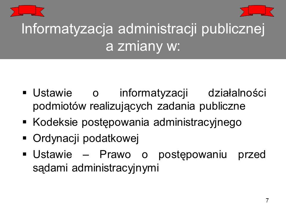 Informatyzacja administracji publicznej a zmiany w:  Ustawie o informatyzacji działalności podmiotów realizujących zadania publiczne  Kodeksie postę