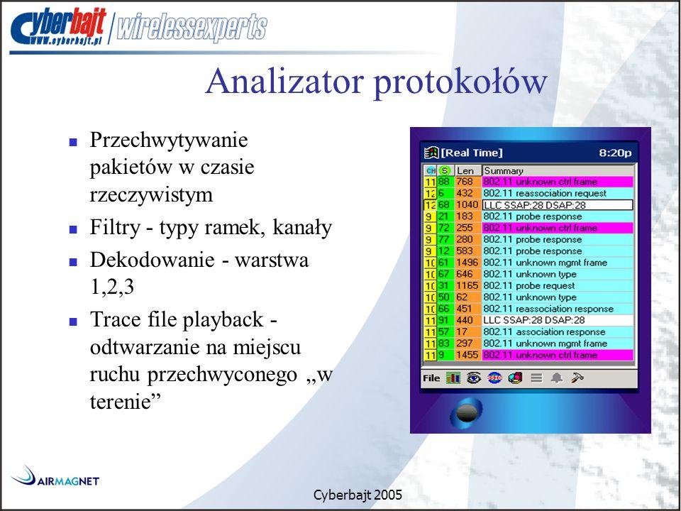 """Cyberbajt 2005 Przechwytywanie pakietów w czasie rzeczywistym Filtry - typy ramek, kanały Dekodowanie - warstwa 1,2,3 Trace file playback - odtwarzanie na miejscu ruchu przechwyconego """"w terenie Analizator protokołów"""
