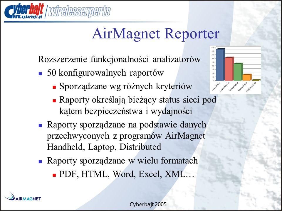 Cyberbajt 2005 Rozszerzenie funkcjonalności analizatorów 50 konfigurowalnych raportów Sporządzane wg różnych kryteriów Raporty określają bieżący status sieci pod kątem bezpieczeństwa i wydajności Raporty sporządzane na podstawie danych przechwyconych z programów AirMagnet Handheld, Laptop, Distributed Raporty sporządzane w wielu formatach PDF, HTML, Word, Excel, XML… AirMagnet Reporter