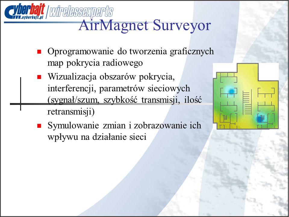 AirMagnet Surveyor Oprogramowanie do tworzenia graficznych map pokrycia radiowego Wizualizacja obszarów pokrycia, interferencji, parametrów sieciowych (sygnał/szum, szybkość transmisji, ilość retransmisji) Symulowanie zmian i zobrazowanie ich wpływu na działanie sieci
