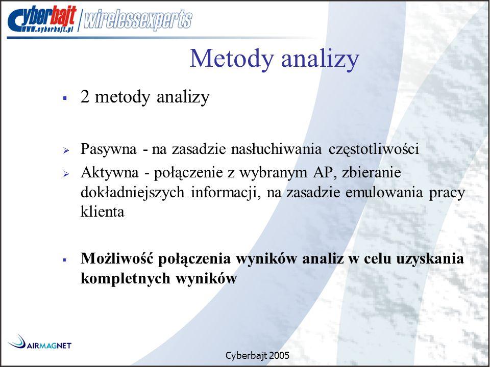 Cyberbajt 2005 Metody analizy  2 metody analizy  Pasywna - na zasadzie nasłuchiwania częstotliwości  Aktywna - połączenie z wybranym AP, zbieranie dokładniejszych informacji, na zasadzie emulowania pracy klienta  Możliwość połączenia wyników analiz w celu uzyskania kompletnych wyników
