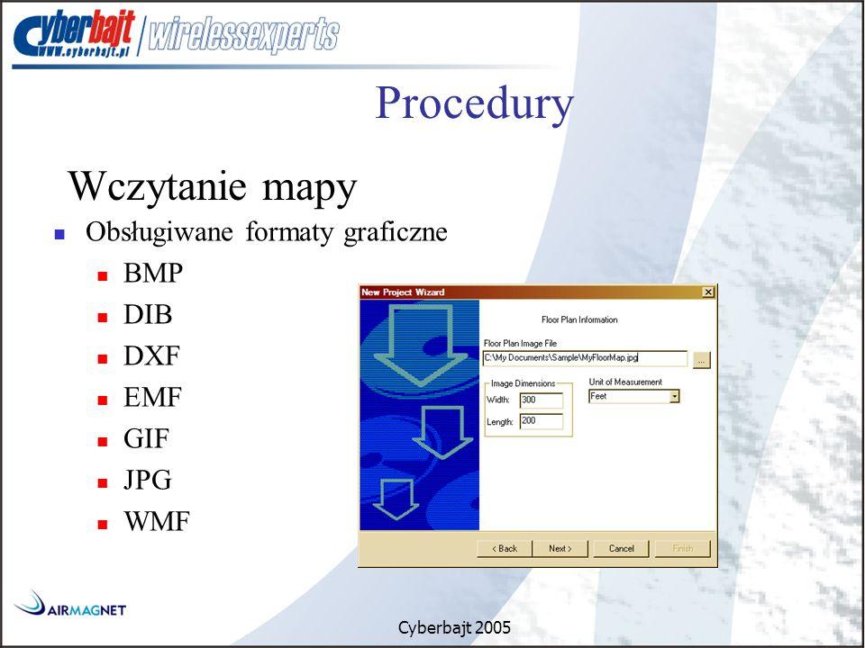 Cyberbajt 2005 Obsługiwane formaty graficzne BMP DIB DXF EMF GIF JPG WMF Procedury Wczytanie mapy