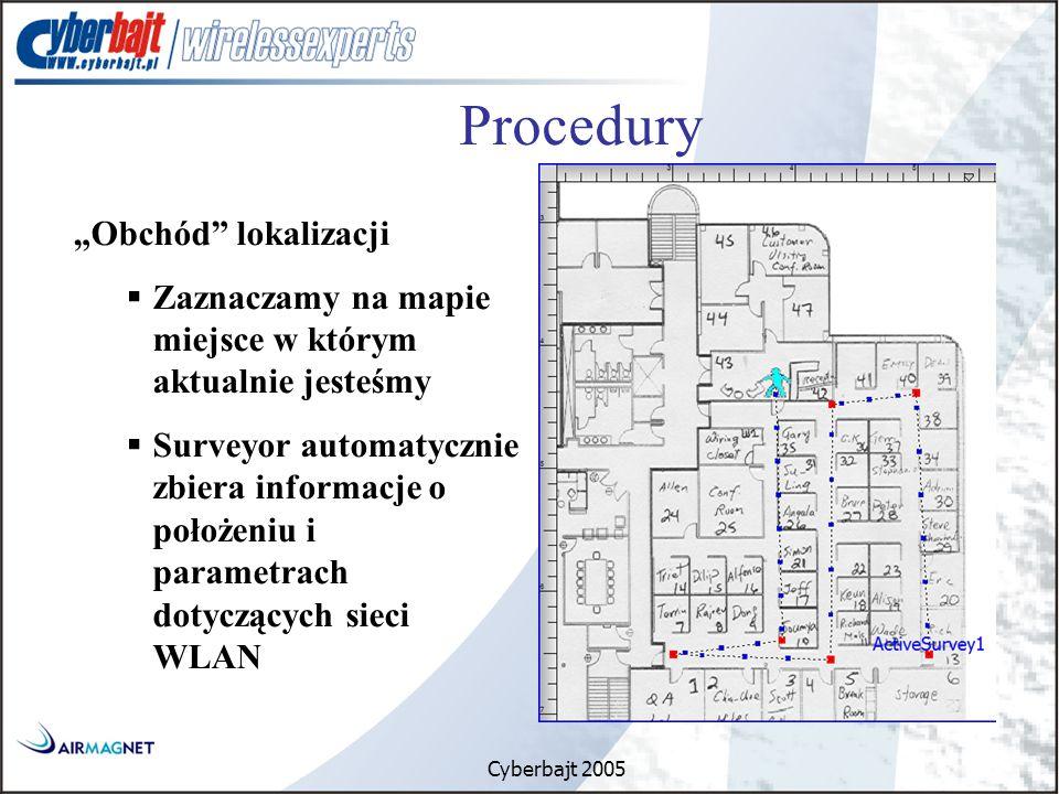 """Cyberbajt 2005 Procedury """"Obchód lokalizacji  Zaznaczamy na mapie miejsce w którym aktualnie jesteśmy  Surveyor automatycznie zbiera informacje o położeniu i parametrach dotyczących sieci WLAN"""