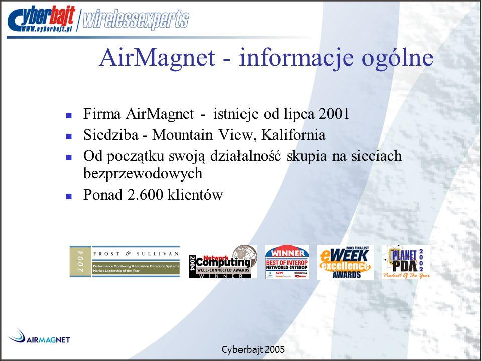Cyberbajt 2005 Firma AirMagnet - istnieje od lipca 2001 Siedziba - Mountain View, Kalifornia Od początku swoją działalność skupia na sieciach bezprzewodowych Ponad 2.600 klientów AirMagnet - informacje ogólne