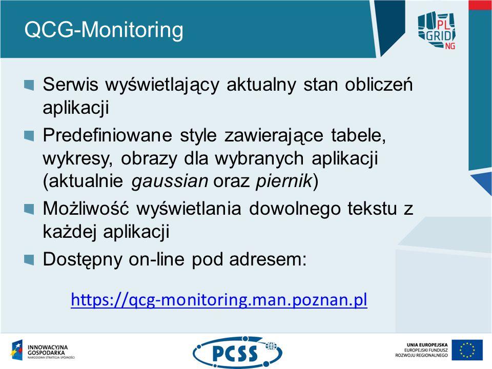 QCG-Monitoring Serwis wyświetlający aktualny stan obliczeń aplikacji Predefiniowane style zawierające tabele, wykresy, obrazy dla wybranych aplikacji (aktualnie gaussian oraz piernik) Możliwość wyświetlania dowolnego tekstu z każdej aplikacji Dostępny on-line pod adresem: https://qcg-monitoring.man.poznan.pl