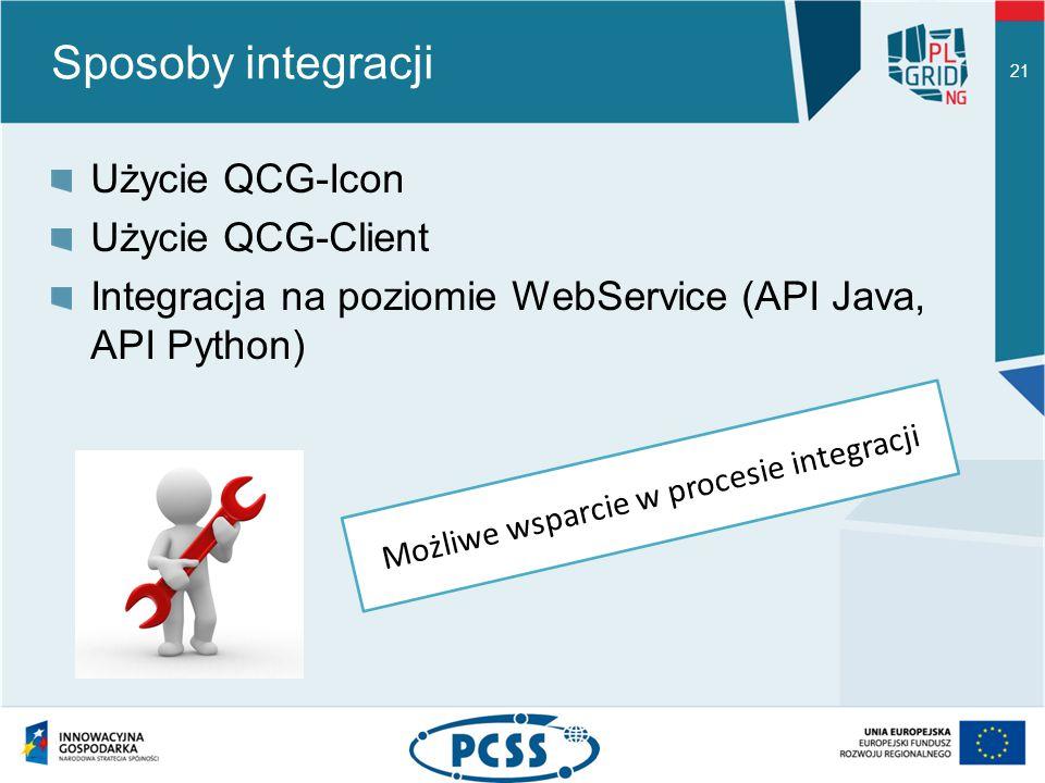 Sposoby integracji Użycie QCG-Icon Użycie QCG-Client Integracja na poziomie WebService (API Java, API Python) 21 Możliwe wsparcie w procesie integracji