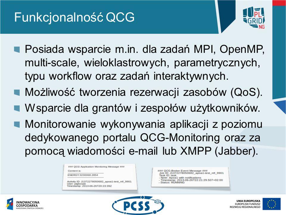 Funkcjonalność QCG Posiada wsparcie m.in.
