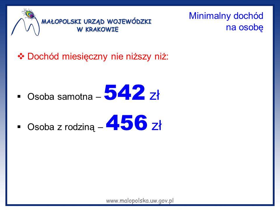 Minimalny dochód na osobę  Dochód miesięczny nie niższy niż:  Osoba samotna – 542 zł  Osoba z rodziną – 456 zł