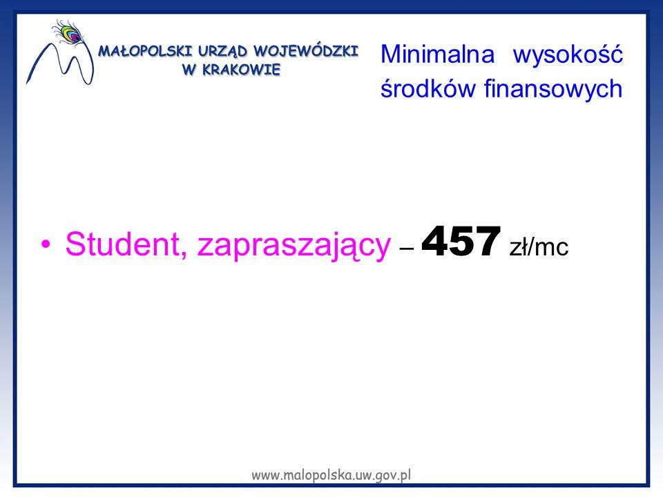 Minimalna wysokość środków finansowych Student, zapraszający – 457 zł/mc