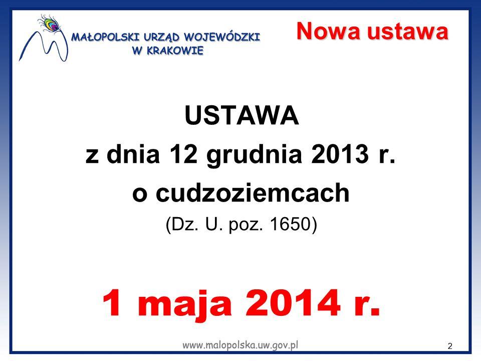 22 Nowa ustawa USTAWA z dnia 12 grudnia 2013 r. o cudzoziemcach (Dz. U. poz. 1650) 1 maja 2014 r.
