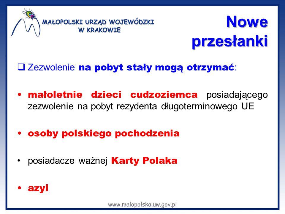 Nowe przesłanki  Zezwolenie na pobyt stały mogą otrzymać : małoletnie dzieci cudzoziemca posiadającego zezwolenie na pobyt rezydenta długoterminowego UE osoby polskiego pochodzenia posiadacze ważnej Karty Polaka azyl