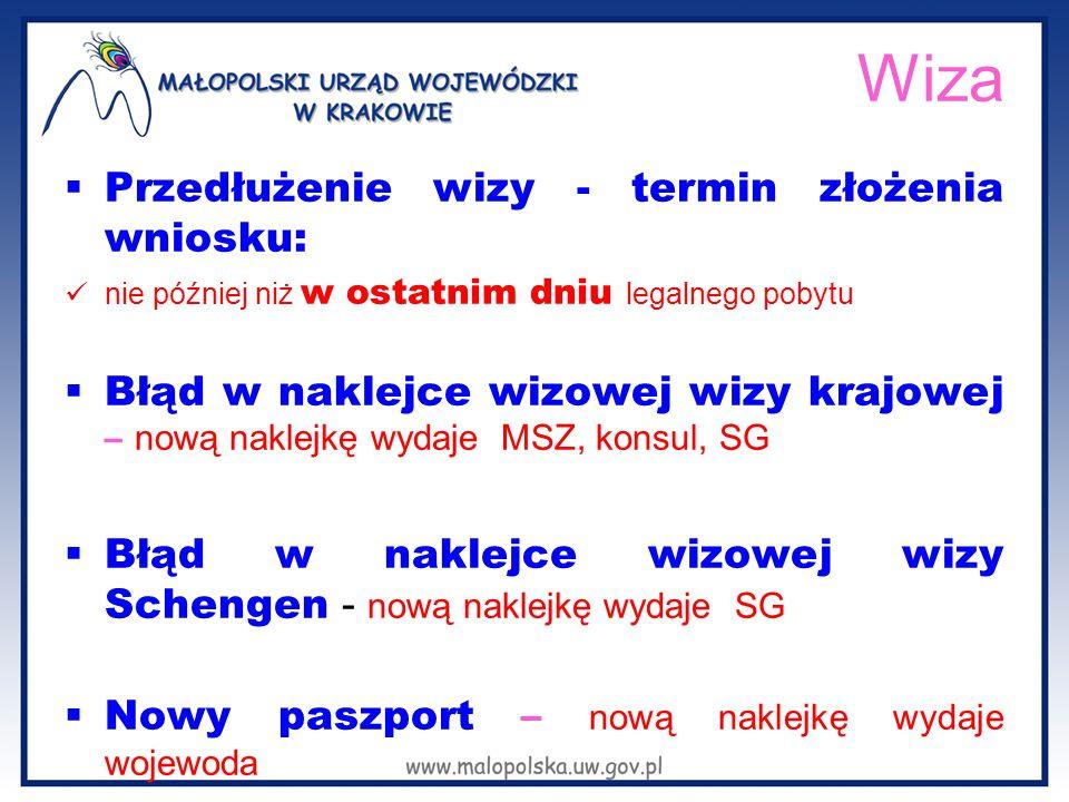 Wiza  Przedłużenie wizy - termin złożenia wniosku: nie później niż w ostatnim dniu legalnego pobytu  Błąd w naklejce wizowej wizy krajowej – nową naklejkę wydaje MSZ, konsul, SG  Błąd w naklejce wizowej wizy Schengen - nową naklejkę wydaje SG  Nowy paszport – nową naklejkę wydaje wojewoda