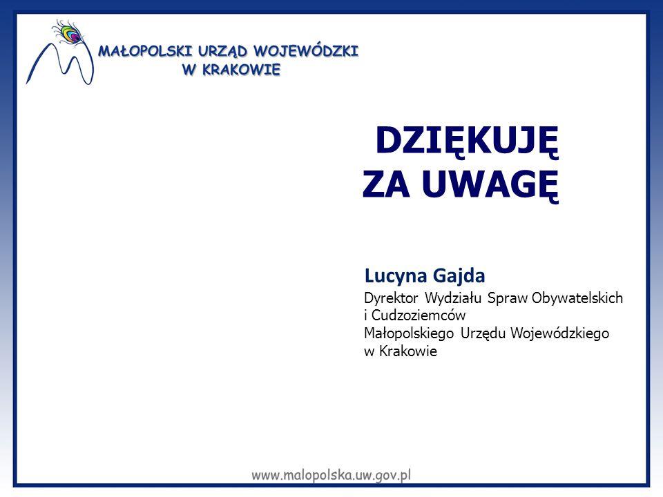 DZIĘKUJĘ ZA UWAGĘ Lucyna Gajda Dyrektor Wydziału Spraw Obywatelskich i Cudzoziemców Małopolskiego Urzędu Wojewódzkiego w Krakowie