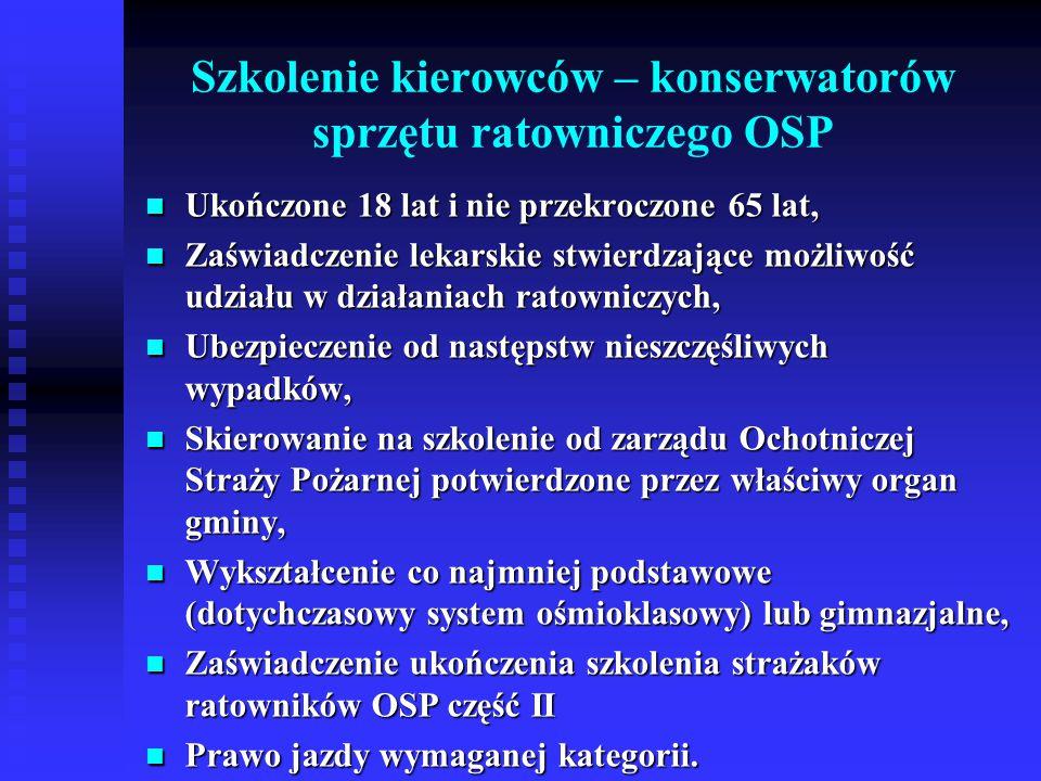 Szkolenie kierowców – konserwatorów sprzętu ratowniczego OSP Ukończone 18 lat i nie przekroczone 65 lat, Ukończone 18 lat i nie przekroczone 65 lat, Z