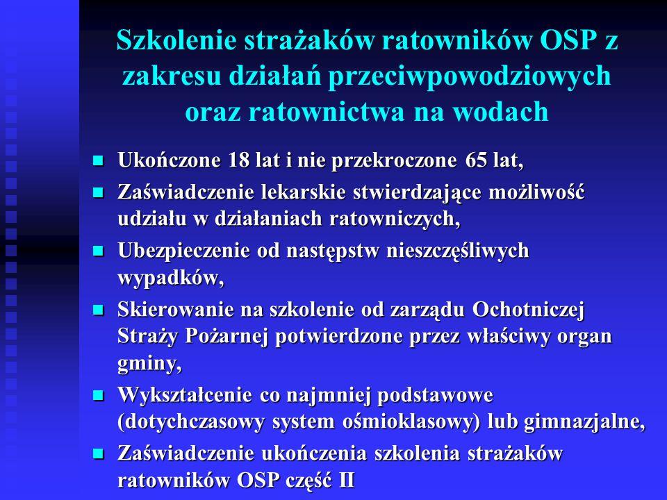 Szkolenie strażaków ratowników OSP z zakresu działań przeciwpowodziowych oraz ratownictwa na wodach Ukończone 18 lat i nie przekroczone 65 lat, Ukończ