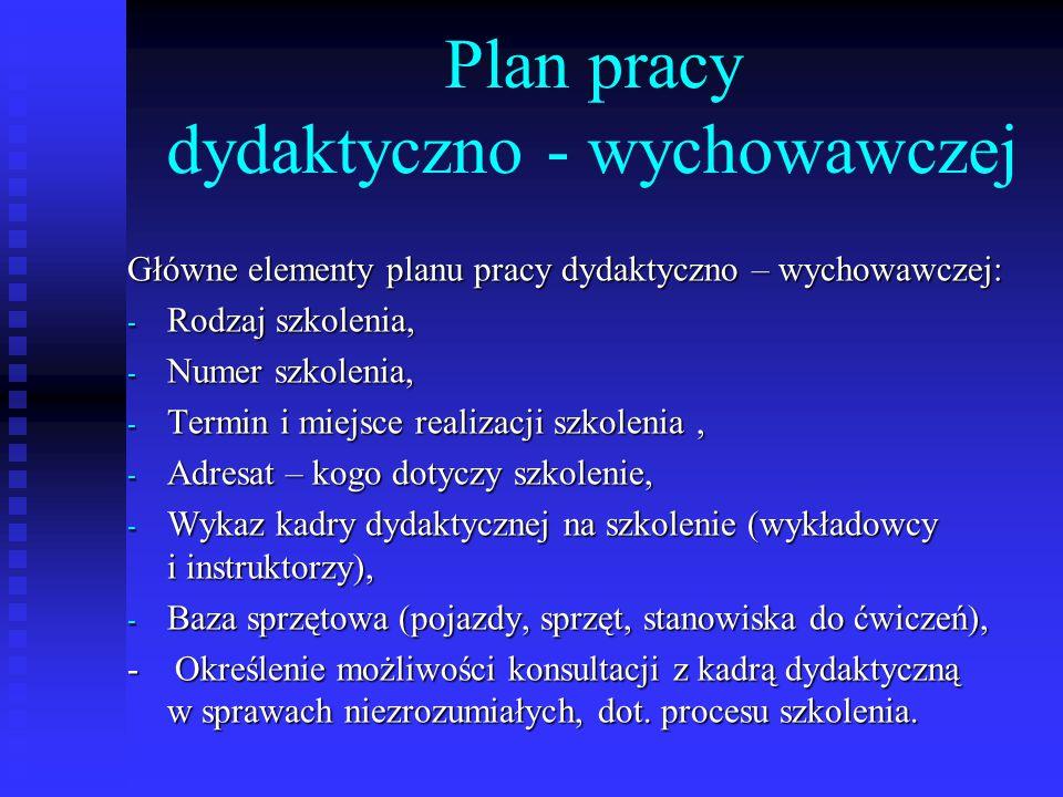 Plan pracy dydaktyczno - wychowawczej Główne elementy planu pracy dydaktyczno – wychowawczej: - Rodzaj szkolenia, - Numer szkolenia, - Termin i miejsc