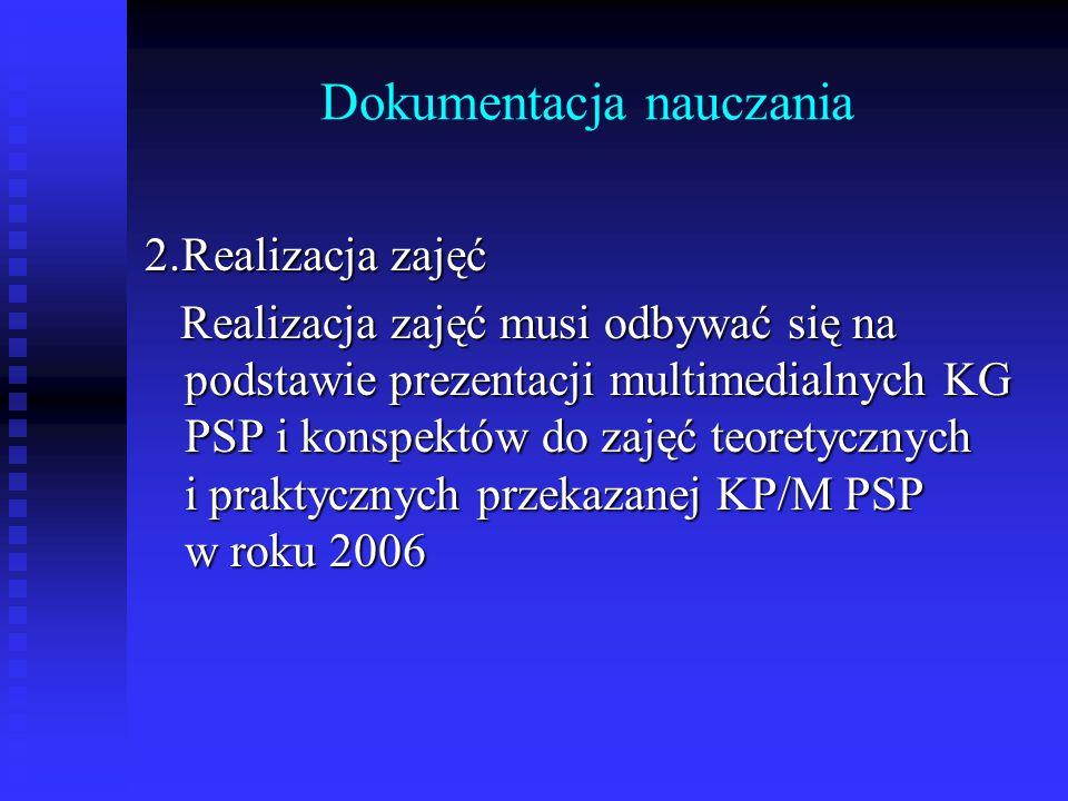 Dokumentacja nauczania 2.Realizacja zajęć Realizacja zajęć musi odbywać się na podstawie prezentacji multimedialnych KG PSP i konspektów do zajęć teor