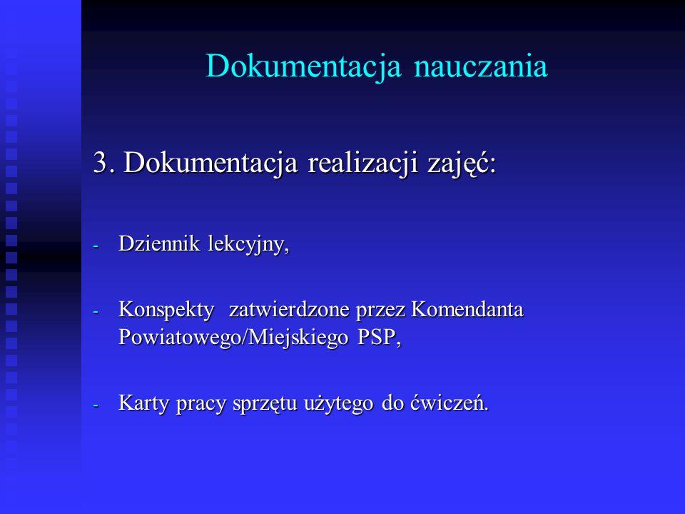 Dokumentacja nauczania 3. Dokumentacja realizacji zajęć: - Dziennik lekcyjny, - Konspekty zatwierdzone przez Komendanta Powiatowego/Miejskiego PSP, -