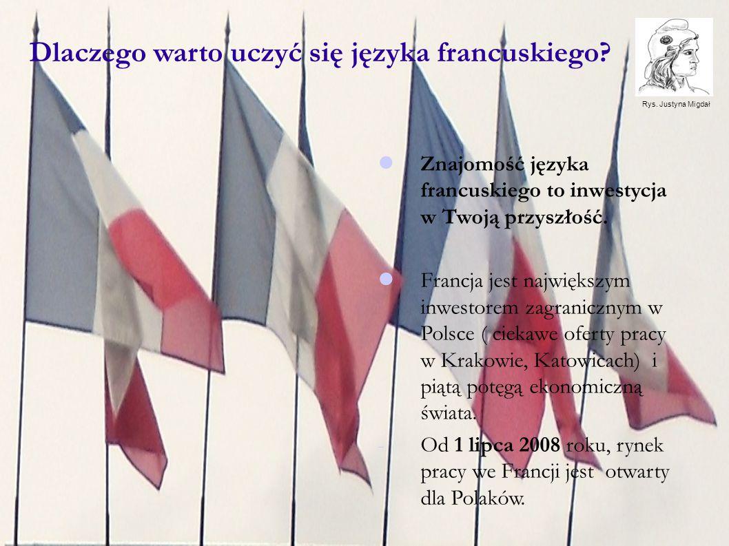 Znajomość języka francuskiego daje możliwość studiów na prestiżowych wyższych uczelniach w krajach francuskojęzycznych: -Francja co roku przyjmuje blisko 300.000 studentów z zagranicy, -Francja jest piątym krajem na świecie pod względem liczby studentów francuskojęzycznych.