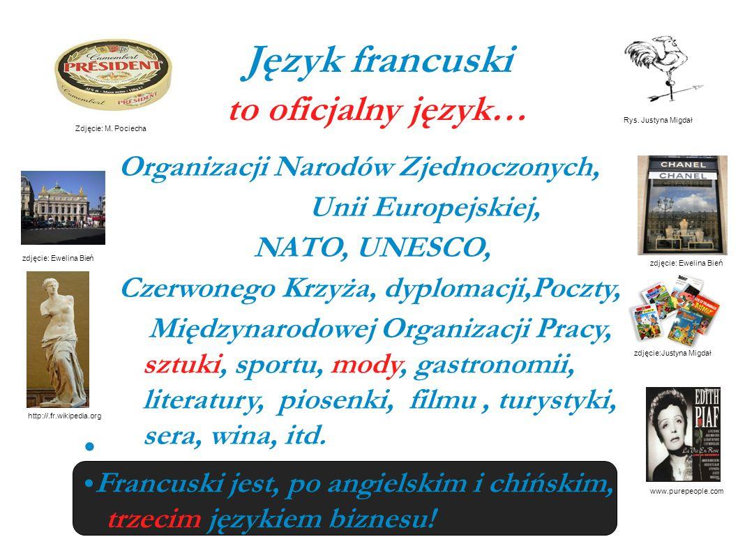 Język francuski to oficjalny język… Organizacji Narodów Zjednoczonych, Unii Europejskiej, NATO, UNESCO, Czerwonego Krzyża, dyplomacji,Poczty, Międzyna