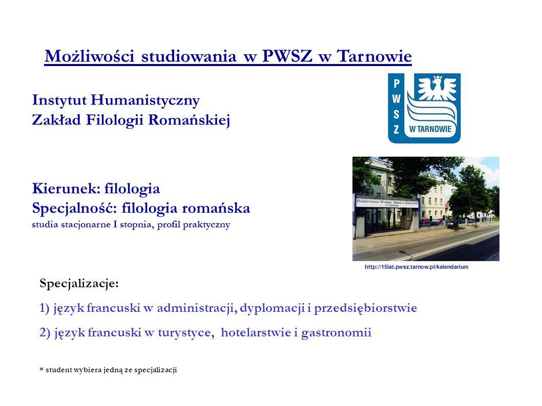 Możliwości studiowania w PWSZ w Tarnowie Instytut Humanistyczny Zakład Filologii Romańskiej Kierunek: filologia Specjalność: filologia romańska studia