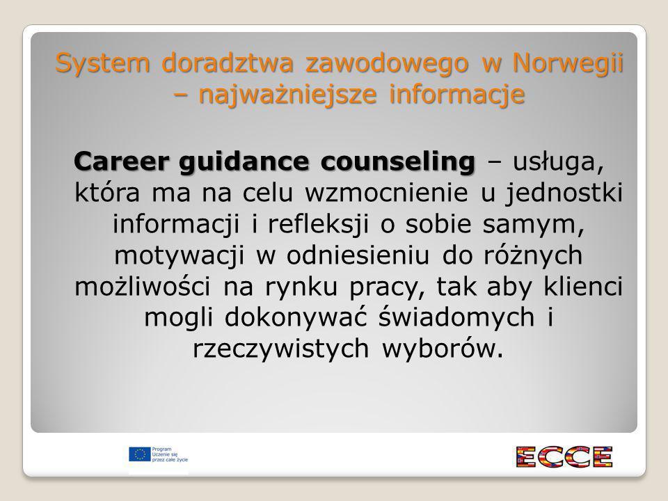 System doradztwa zawodowego w Norwegii – najważniejsze informacje Career guidance counseling Career guidance counseling – usługa, która ma na celu wzmocnienie u jednostki informacji i refleksji o sobie samym, motywacji w odniesieniu do różnych możliwości na rynku pracy, tak aby klienci mogli dokonywać świadomych i rzeczywistych wyborów.