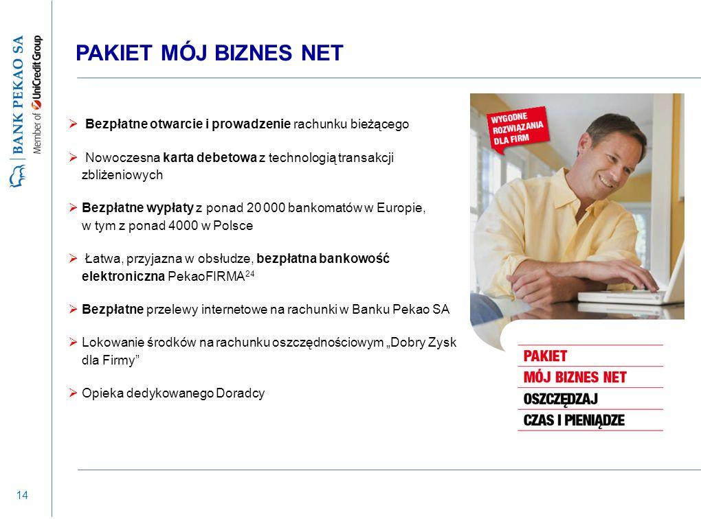 14 PAKIET MÓJ BIZNES NET  Bezpłatne otwarcie i prowadzenie rachunku bieżącego  Nowoczesna karta debetowa z technologią transakcji zbliżeniowych  Be