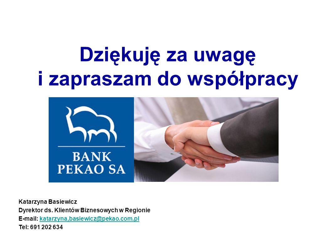 Dziękuję za uwagę i zapraszam do współpracy Katarzyna Basiewicz Dyrektor ds. Klientów Biznesowych w Regionie E-mail: katarzyna,basiewicz@pekao.com.plk