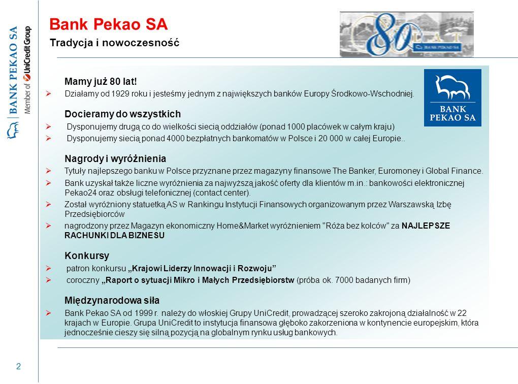 2 Mamy już 80 lat!  Działamy od 1929 roku i jesteśmy jednym z największych banków Europy Środkowo-Wschodniej. Docieramy do wszystkich  Dysponujemy d