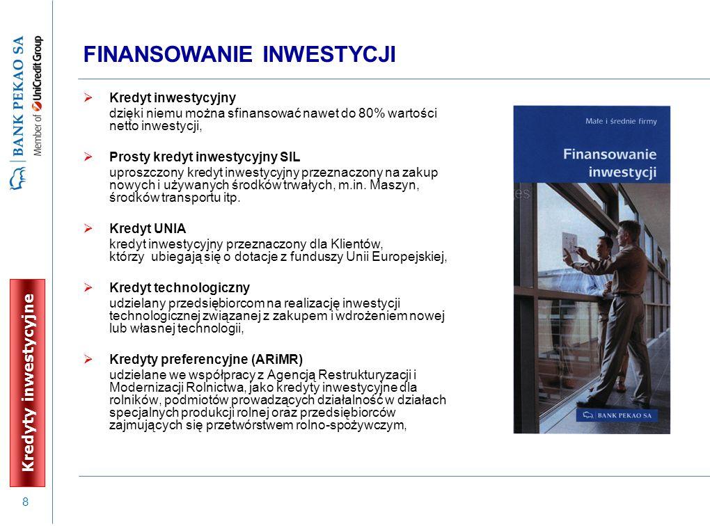 9 KREDYT INWESTYCYJNY Wydatki na inwestycje wiążą się często z koniecznością ponoszenia istotnych nakładów finansowych.