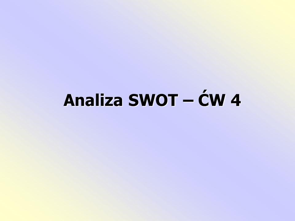 Analiza SWOT: zaliczana jest do metod analizy strategicznej, służy do oceny pozycji strategicznej organizacji, otoczenia wnętrzato kompleksowa metoda służąca do badania otoczenia organizacji oraz analizy jej wnętrza, kondycję bieżącą i potencjał rozwojowyto propozycja systematycznej i wszechstronnej oceny zewnętrznych i wewnętrznych czynników określających kondycję bieżącą i potencjał rozwojowy organizacji.