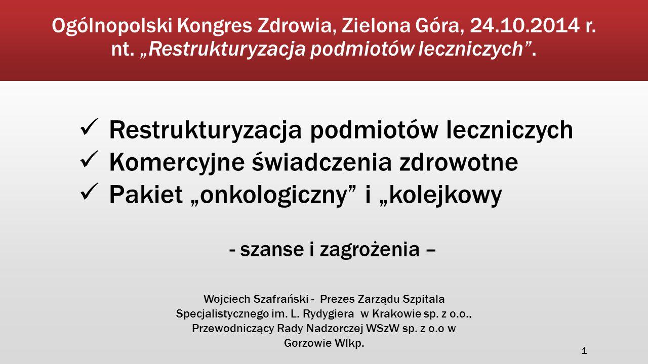 """Pakiet """"onkologiczny i """"kolejkowy – Szanse i zagrożenia ▪ Gwarancja kompleksowego leczenia w ramach sieci diagnostyczno- terapeutycznej."""