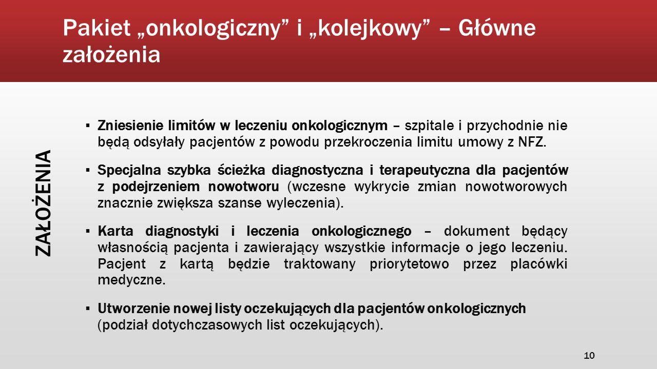 """Pakiet """"onkologiczny"""" i """"kolejkowy"""" – Główne założenia ▪ Zniesienie limitów w leczeniu onkologicznym – szpitale i przychodnie nie będą odsyłały pacjen"""