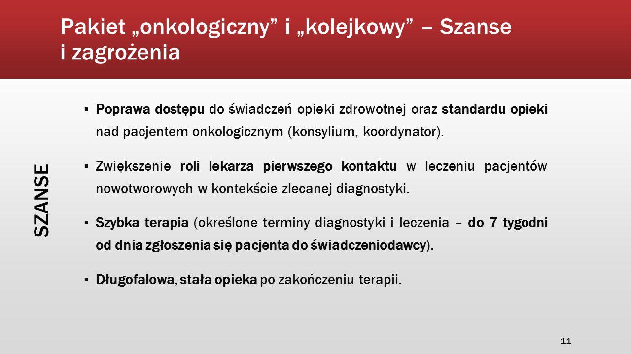 """Pakiet """"onkologiczny"""" i """"kolejkowy"""" – Szanse i zagrożenia ▪ Poprawa dostępu do świadczeń opieki zdrowotnej oraz standardu opieki nad pacjentem onkolog"""