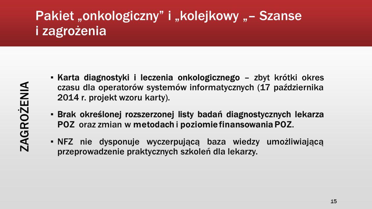 """Pakiet """"onkologiczny"""" i """"kolejkowy """"– Szanse i zagrożenia ▪ Karta diagnostyki i leczenia onkologicznego – zbyt krótki okres czasu dla operatorów syste"""