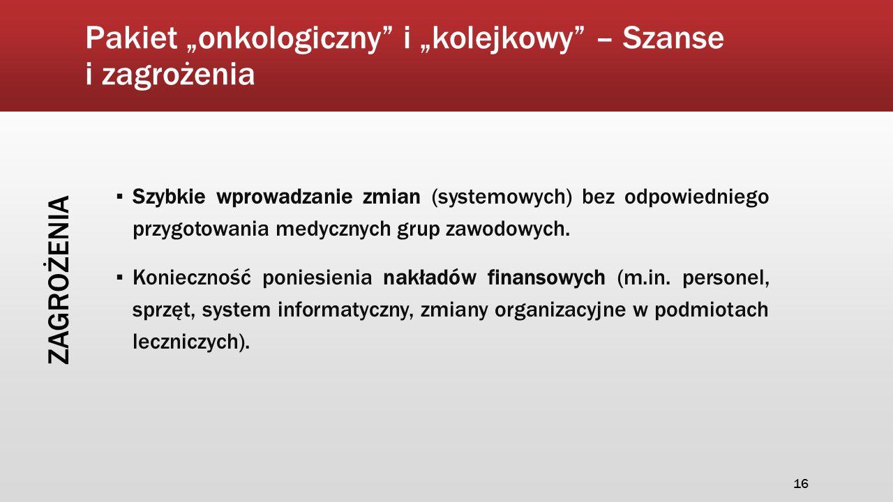"""Pakiet """"onkologiczny"""" i """"kolejkowy"""" – Szanse i zagrożenia ▪ Szybkie wprowadzanie zmian (systemowych) bez odpowiedniego przygotowania medycznych grup z"""