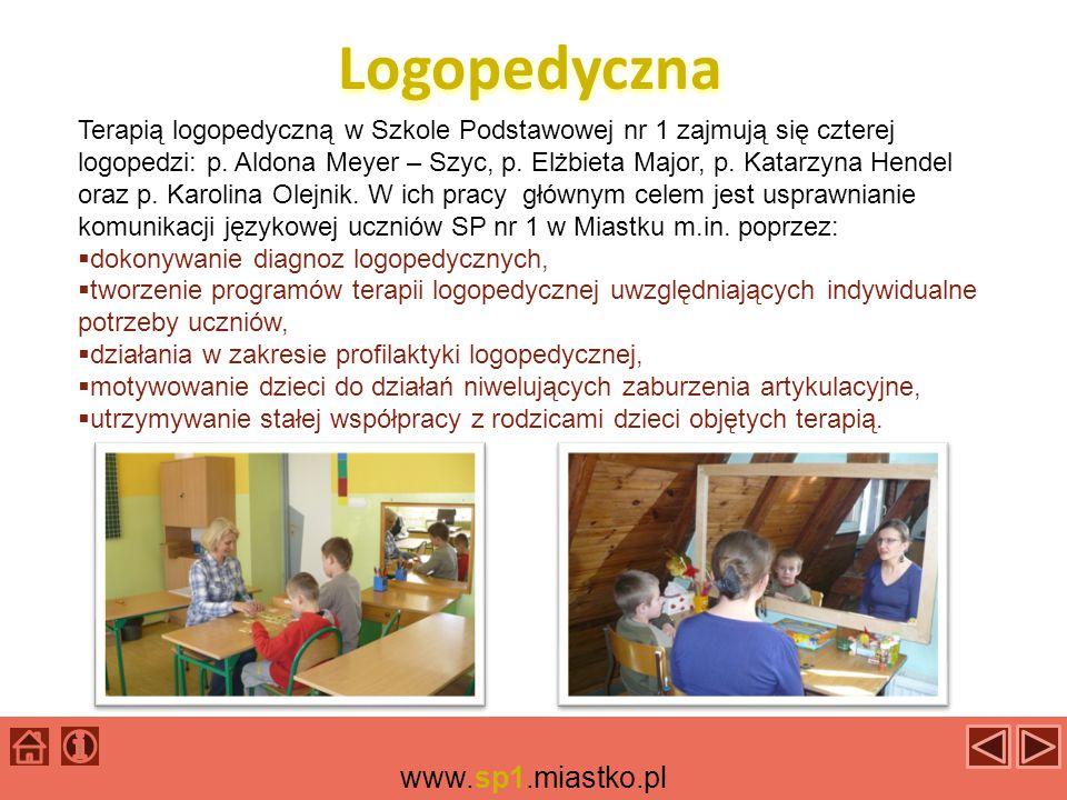 Logopedyczna Terapią logopedyczną w Szkole Podstawowej nr 1 zajmują się czterej logopedzi: p.