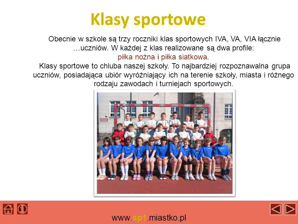 Klasy sportowe Obecnie w szkole są trzy roczniki klas sportowych IVA, VA, VIA łącznie …uczniów.