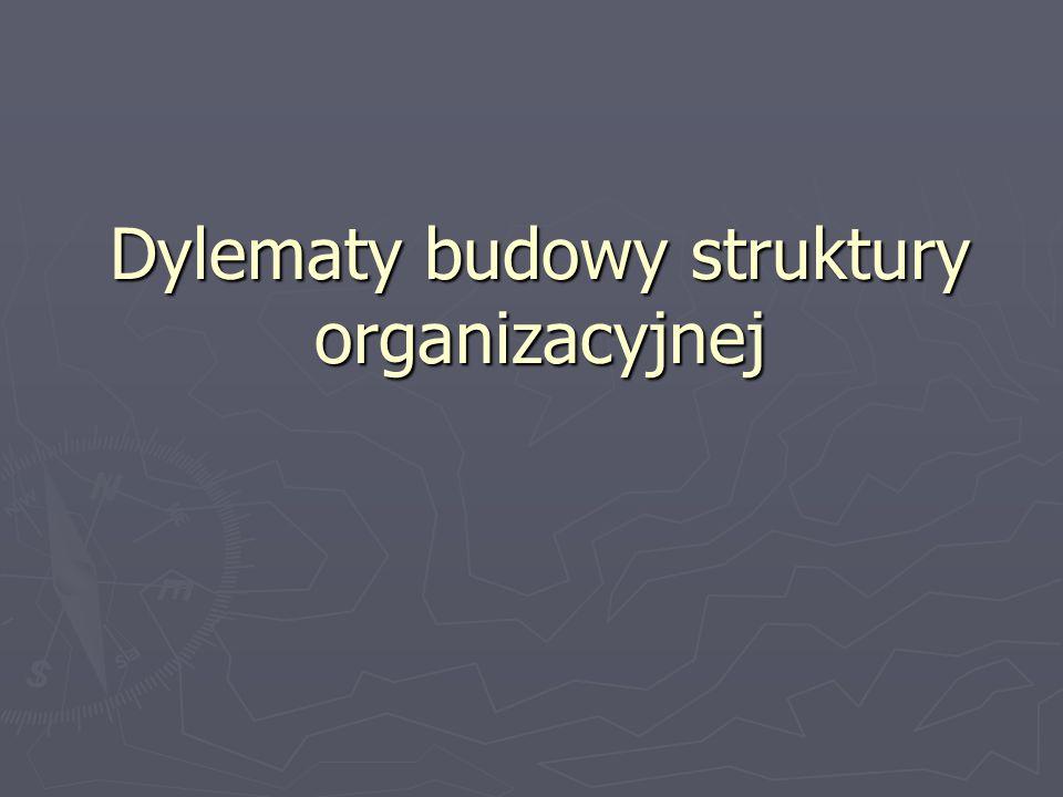 Dylematy budowy struktury organizacyjnej