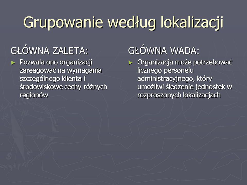 Grupowanie według lokalizacji GŁÓWNA ZALETA: ► Pozwala ono organizacji zareagować na wymagania szczególnego klienta i środowiskowe cechy różnych regio