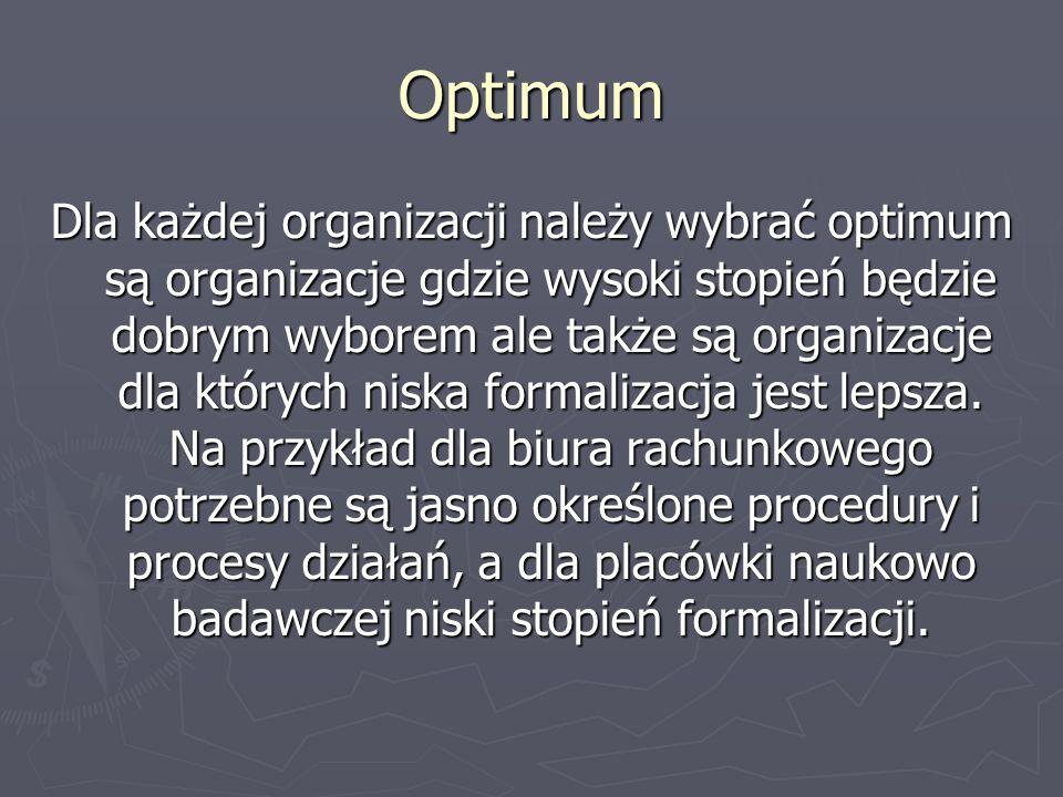 Optimum Dla każdej organizacji należy wybrać optimum są organizacje gdzie wysoki stopień będzie dobrym wyborem ale także są organizacje dla których ni