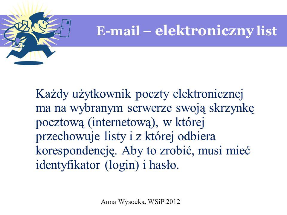 Anna Wysocka, WSiP 2012 E-mail – elektroniczny list Każdy użytkownik poczty elektronicznej ma na wybranym serwerze swoją skrzynkę pocztową (internetową), w której przechowuje listy i z której odbiera korespondencję.
