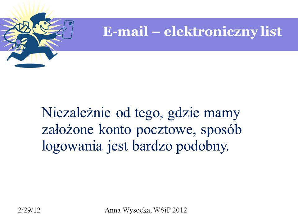 E-mail – elektroniczny list 2/29/12Anna Wysocka, WSiP 2012 Niezależnie od tego, gdzie mamy założone konto pocztowe, sposób logowania jest bardzo podob