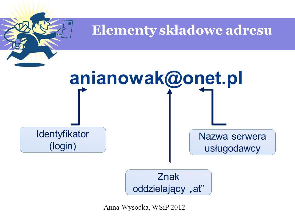 """Anna Wysocka, WSiP 2012 anianowak@onet.pl Identyfikator (login) Znak oddzielający """"at"""" Nazwa serwera usługodawcy Elementy składowe adresu"""