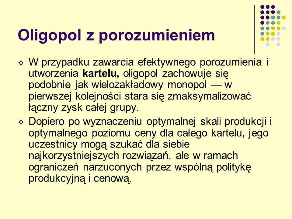 Oligopol z porozumieniem  W przypadku zawarcia efektywnego porozumienia i utworzenia kartelu, oligopol zachowuje się podobnie jak wielozakładowy mono