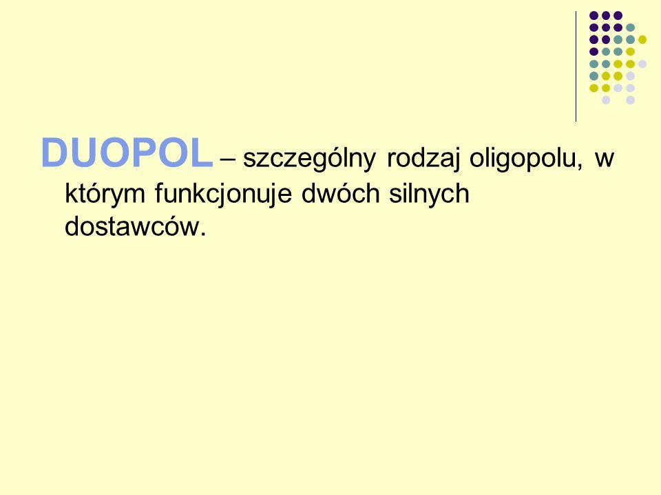 DUOPOL – szczególny rodzaj oligopolu, w którym funkcjonuje dwóch silnych dostawców.