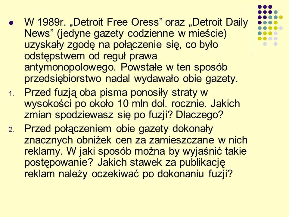 """W 1989r. """"Detroit Free Oress"""" oraz """"Detroit Daily News"""" (jedyne gazety codzienne w mieście) uzyskały zgodę na połączenie się, co było odstępstwem od r"""