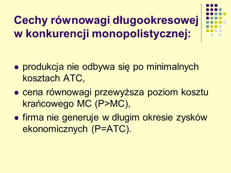 Cechy równowagi długookresowej w konkurencji monopolistycznej: produkcja nie odbywa się po minimalnych kosztach ATC, cena równowagi przewyższa poziom