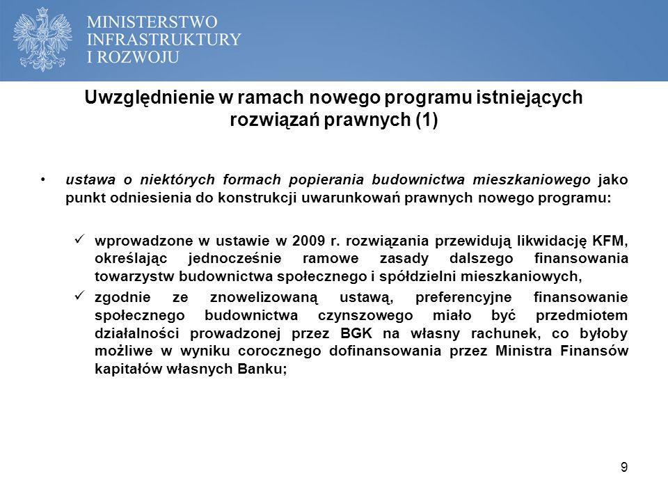 Uwzględnienie w ramach nowego programu istniejących rozwiązań prawnych (2) koncepcja nowego programu wsparcia społecznego budownictwa czynszowego przewiduje wykorzystanie wprowadzonej w 2009 r.