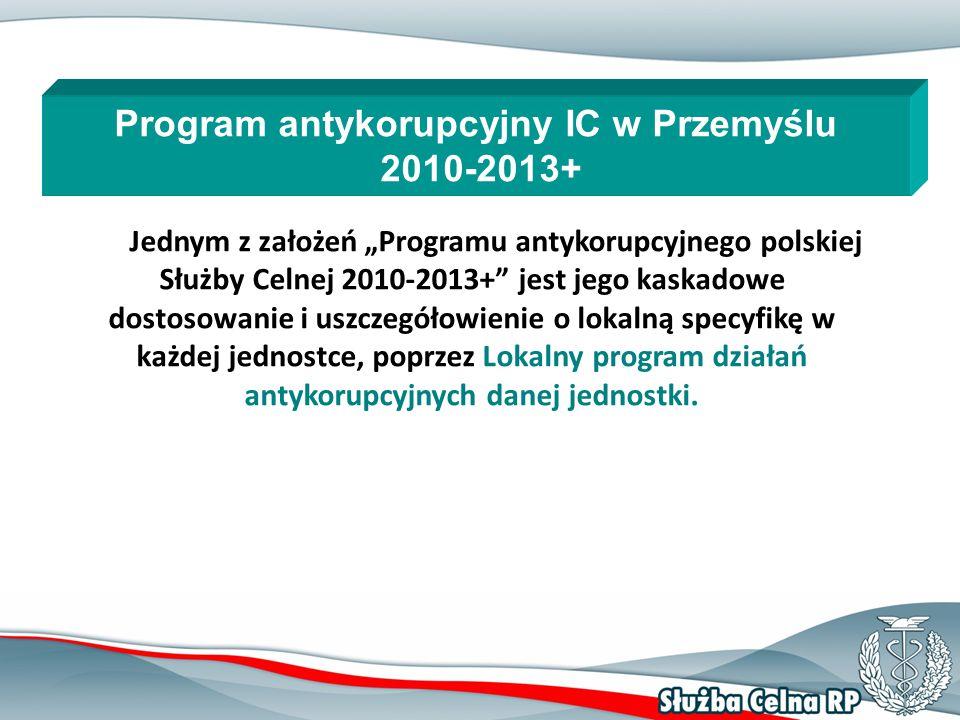 """11 Jednym z założeń """"Programu antykorupcyjnego polskiej Służby Celnej 2010-2013+ jest jego kaskadowe dostosowanie i uszczegółowienie o lokalną specyfikę w każdej jednostce, poprzez Lokalny program działań antykorupcyjnych danej jednostki."""